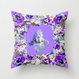 SPRING LILAC PURPLE PANSY FLOWERS & WHITE IRIS PATTERN Throw Pillow