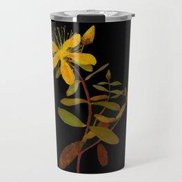 Hypericum Monogynum Mary Delany Vintage Botanical Floral Collage Delicate Paper Flowers Travel Mug
