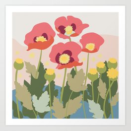 Poppies in the Fields, modern art design, wall art, poster Art Print