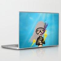 scuba Laptop & iPad Skins featuring scuba by Anne  Martwijit