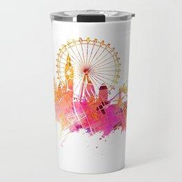 London skyline map city pink Travel Mug