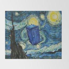 Tardis Dr. Who Starry Night Throw Blanket