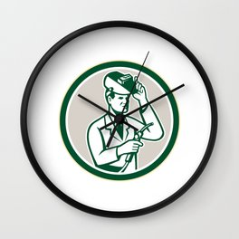 Scientist Lab Researcher Welder Circle Retro Wall Clock