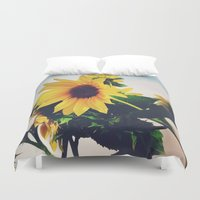 sunflower Duvet Covers featuring sunflower by Sylvia Cook Photography