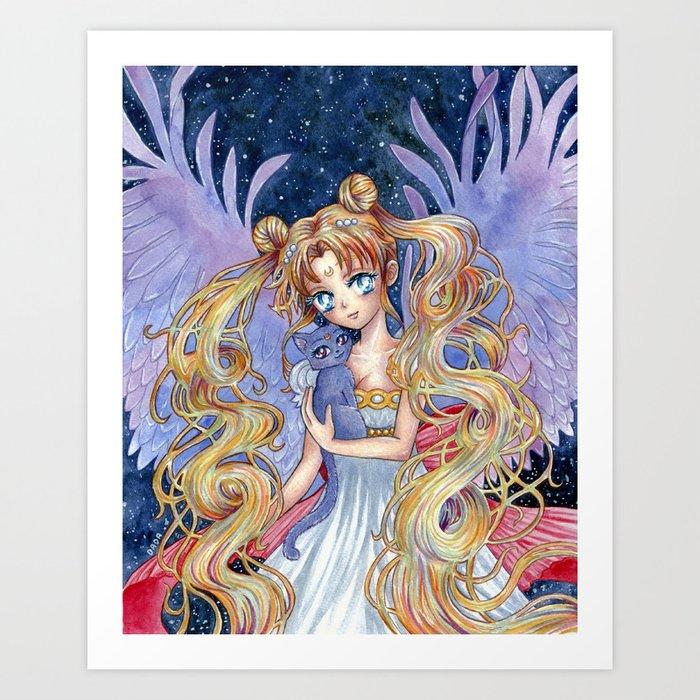 Sailor Moon & Luna Art Print