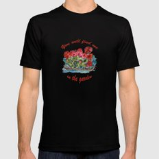 Red Geraniums painting MEDIUM Black Mens Fitted Tee