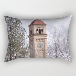 Beautiful Old Clock Tower In Spokane, Washington, Vintage Train Station Clock Tower Rectangular Pillow