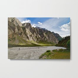 Paddling in the Mountains Metal Print