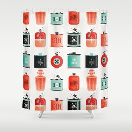 Flask Collection – Red & Turquoise Palette Shower Curtain