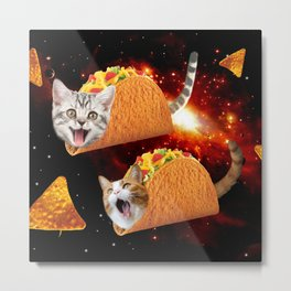 Taco Cats Space Metal Print