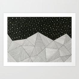 Stripe Mountains Art Print