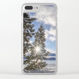 Sunrise in Lake Tahoe with Fresh Snow Clear iPhone Case