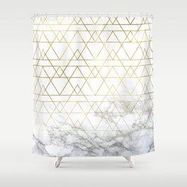 Gold Geometric Marble Deco Design Shower Curtain