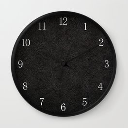 Dark black leather sheet texture abstract Wall Clock