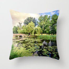 Lily Pond of England Throw Pillow