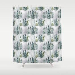 Watercolor forest green snow Christmas pine tree Shower Curtain