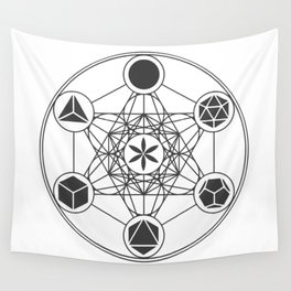 Metatron's Cube with Platonic Solids and Seed of Life Wall Tapestry