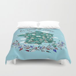 Map of french vineyards Duvet Cover