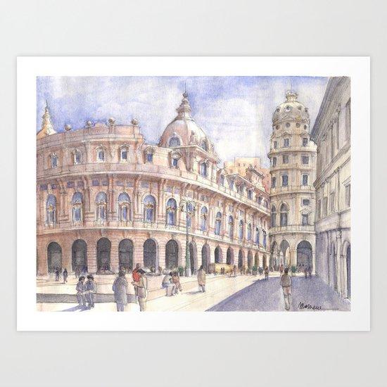 Genova Piazza de Ferrari Art Print