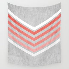 Coral Gradient Chevron on Silver Grey Wood Wall Tapestry