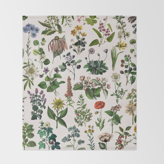 Vintage Botanical Print Throw Blanket By Anniemariedesigns Society6