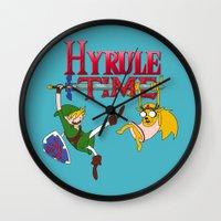 hyrule Wall Clocks featuring Hyrule Time by Marcos Raya Delgado