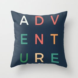 Adventure typography Throw Pillow