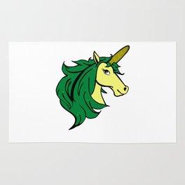 Cartoon Unicorn on the Cob. Cornstalk pun Rug