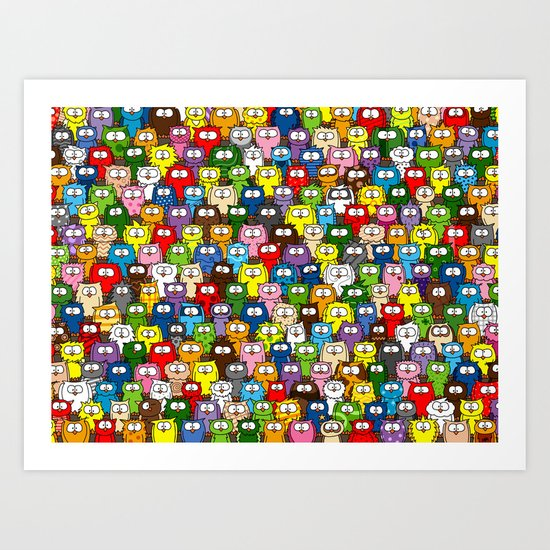 colorful crowd of owls Art Print