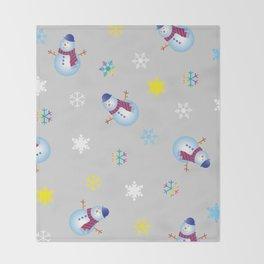 Snowflakes & Snowman_A Throw Blanket
