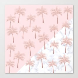 Elegant rose gold glitter palm pattern, white marble & pink Canvas Print