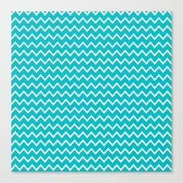 Teal Turquoise Blue Chevron Zigzag Pattern Canvas Print
