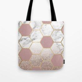 Cherished aspirations rose gold marble Tote Bag