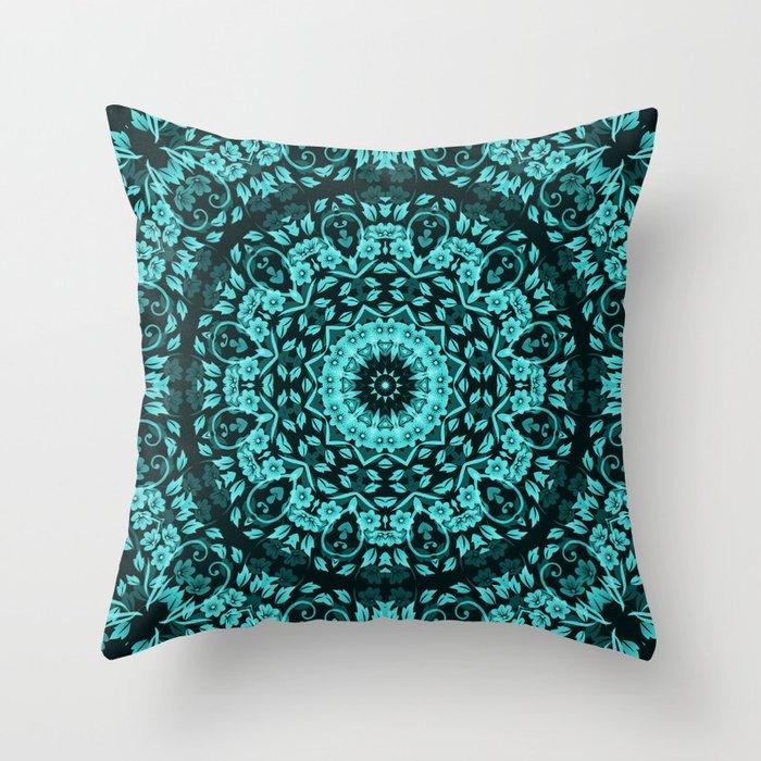 Teal Turquoise Floral Mandala Throw Pillow