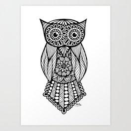 Zentangle - Owl Art Print