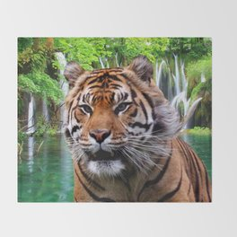 Tiger and Waterfall Throw Blanket