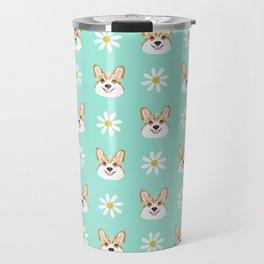 Corgi welsh corgi daisy flowers spring summer florals dog breed pet portrait by pet friendly Travel Mug
