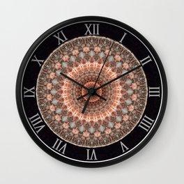Detailed mandala in brown and peach tones Wall Clock