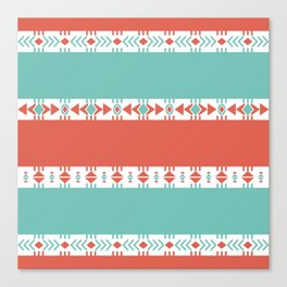 South Western Print in Modern Aqua Turquoise and Coral Geometric Diamonds Arrows Triangles Circles Canvas Print