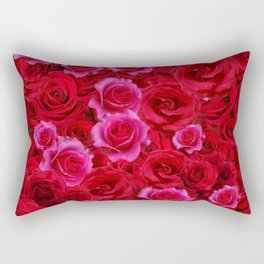 NATURE ART OF BED OF RED & PINK ROSE FLOWERS Rectangular Pillow