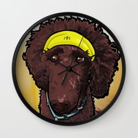 calvin and hobbes Wall Clocks featuring Hobbes (poodle) by BinaryGod.com