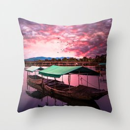 Sunset Boat Water (Color) Throw Pillow