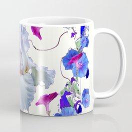 WHITE ART  BLUE MORNING GLORIES & WHITE IRIS Coffee Mug