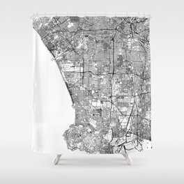 Los Angeles White Map Shower Curtain