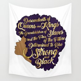 Black Girl Magic - Descendants of Queens and Kings Determined To Rise Faux Gold Afro Woman Wall Tapestry