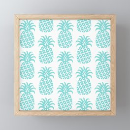 Retro Mid Century Modern Pineapple Pattern 731 Turquoise Framed Mini Art Print