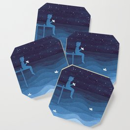 Boy with paper boats, blue Coaster