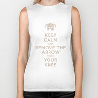 skyrim Biker Tanks featuring Keep Calm And Remove The Arrow From Your Knee by Royal Bros Art