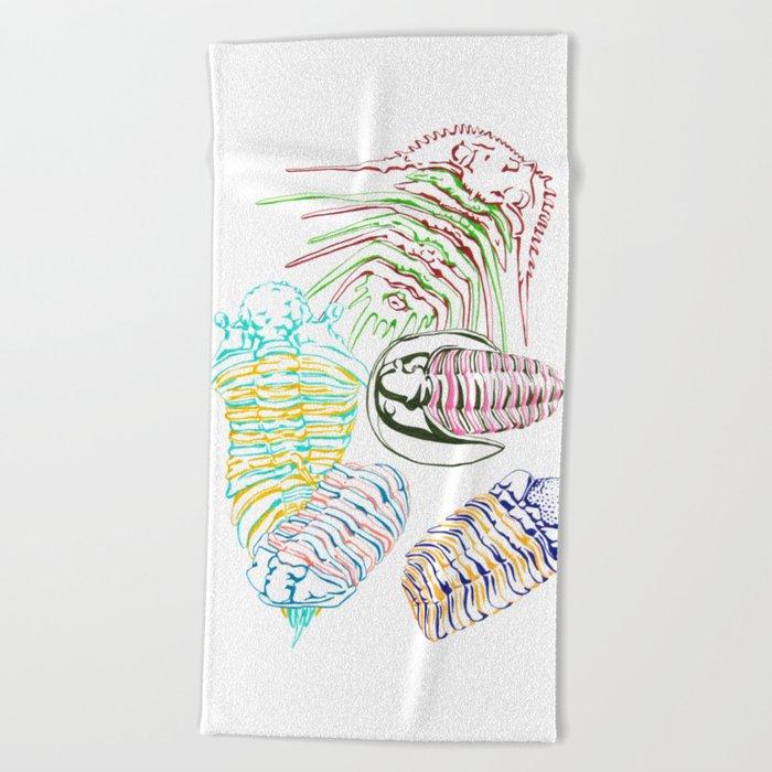 Silurian and Devonian Era Trilobites Beach Towel