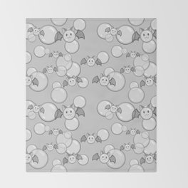 Bubbles and Bats Grey Throw Blanket